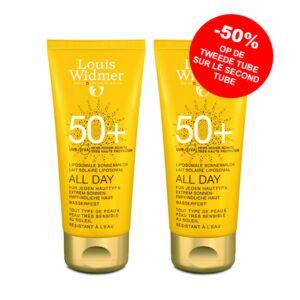 Louis Widmer Sun All Day Lait Solaire Liposomal IP50+ Sans Parfum Tube PROMO 2x100ml