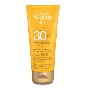 Louis Widmer Sun All Day Lait Solaire Liposomal IP30 Sans Parfum Tube 100ml