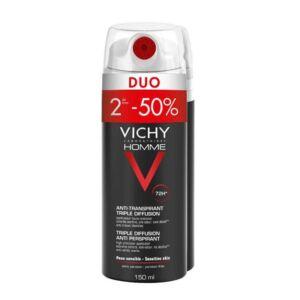 Vichy Homme Déodorant Anti-Transpirant Triple Diffusion 72h Spray Duo 2x150ml PROMO 2ème -50%
