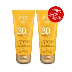 Louis Widmer Sun All Day Lait Solaire Liposomal IP30 Avec Parfum Tube PROMO 2x100ml