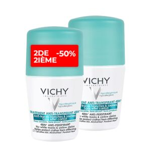 Vichy Dédorant Anti-Transpirant 48h Anti-Traces Jaunes et Blanches Roll-On PROMO Duo 2x50ml