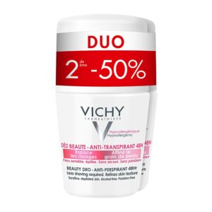 Vichy Déodorant Beauté Anti-Transpirant 48h Peau Sensible ou Epilée Roll-On PROMO Duo 2x50ml