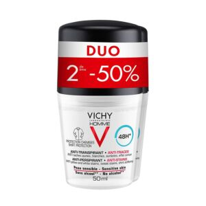 Vichy Homme Déodorant Anti-Transpirant Anti-Traces 48h Roll-On PROMO Duo 2x50ml