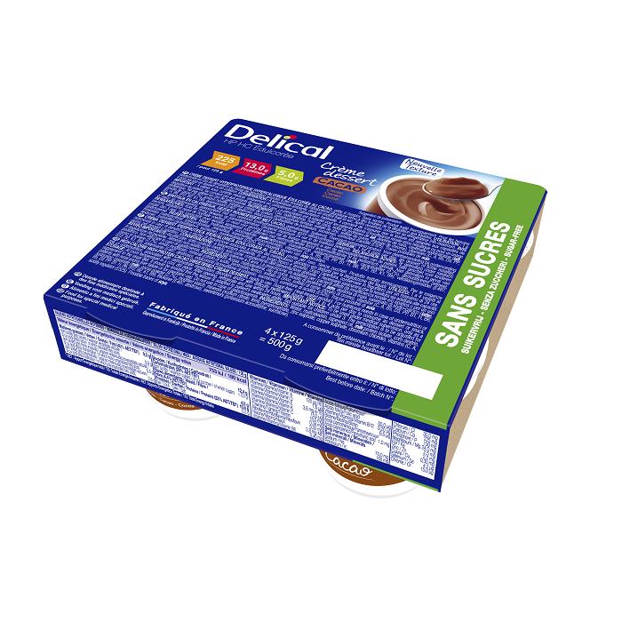Image of Delical HP-HC Dessertcrème Zonder Suiker Cacao 4x124g