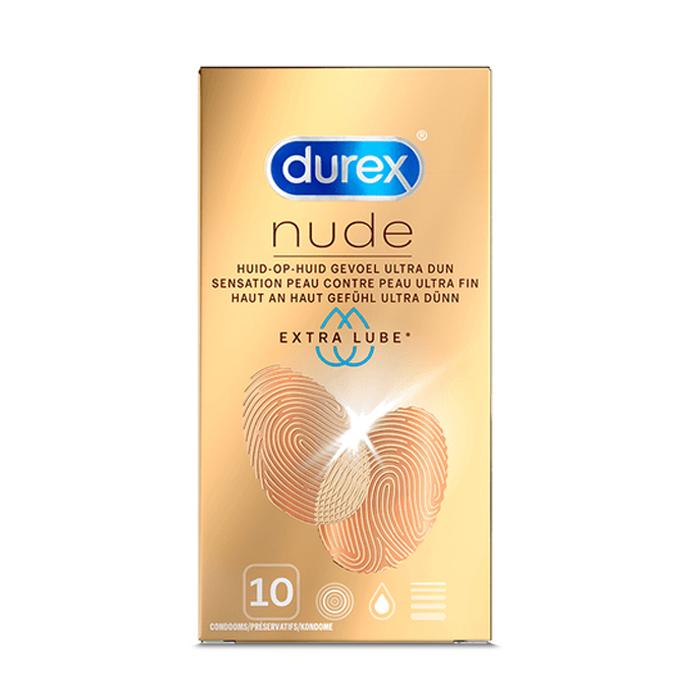 Image of Durex Nude Condooms Extra Glijmiddel 10 Stuks