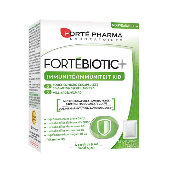 Image of Forté Pharma FortéBiotic+ Immuniteit Kid Vanille 14 Zakjes
