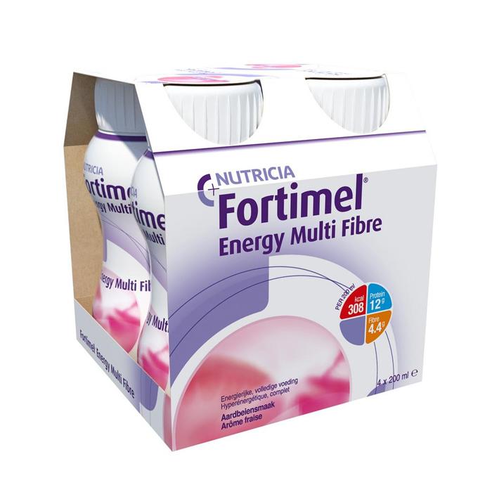 Image of Fortimel Energy Multi Fibre Aardbei Flesjes 4x200ml
