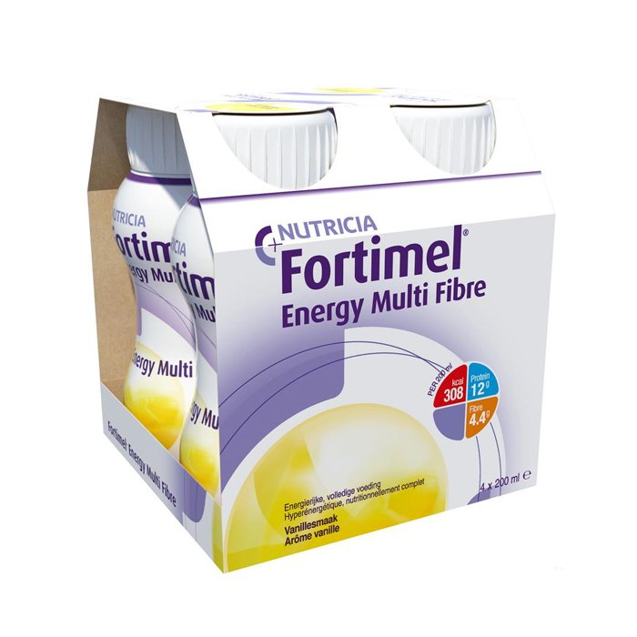 Image of Fortimel Energy Multi Fibre Vanille Flesjes 4x200ml
