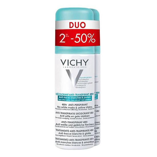 Image of Vichy Deodorant Spray Anti Witte en Gele Vlekken 48u Promo Duo 2e -50% 2x125ml
