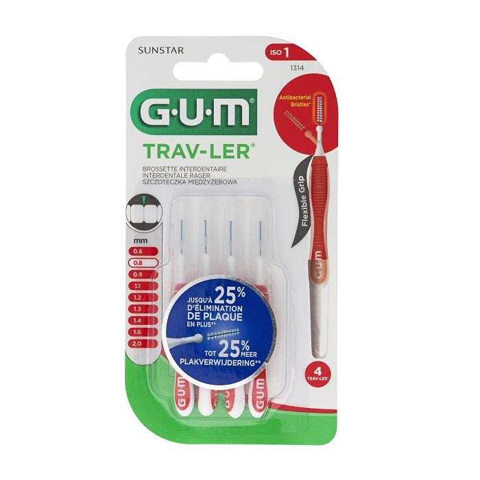 Image of Gum Trav-Ler Interdentale Borstel 0,8mm 4 Stuks