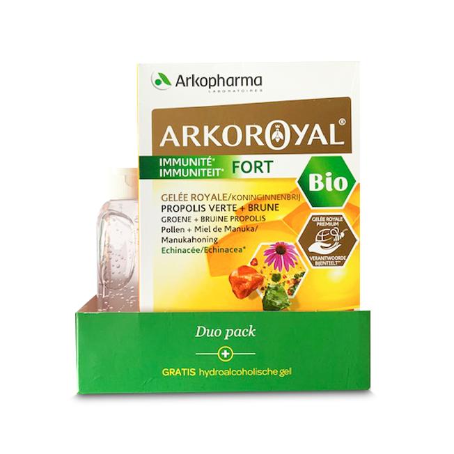 Image of Arkoroyal Immuniteit Fort Duopack 40x10ml Ampullen + GRATIS Pure Clean Hydroalcoholische Gel 100ml