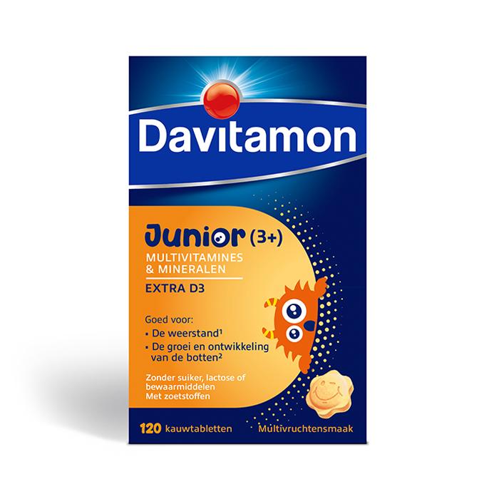 Image of Davitamon Junior Multivitaminen Extra D3 Multivruchten 120 Tabletten