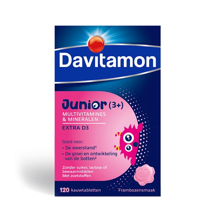 Image of Davitamon Junior Multivitaminen Extra D3 Framboos 120 Tabletten
