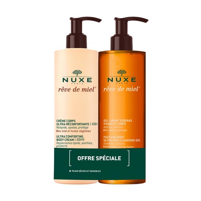 Image of Nuxe Rêve De Miel Duopack Reinigingsgel 400ml + Lichaamscrème 400ml