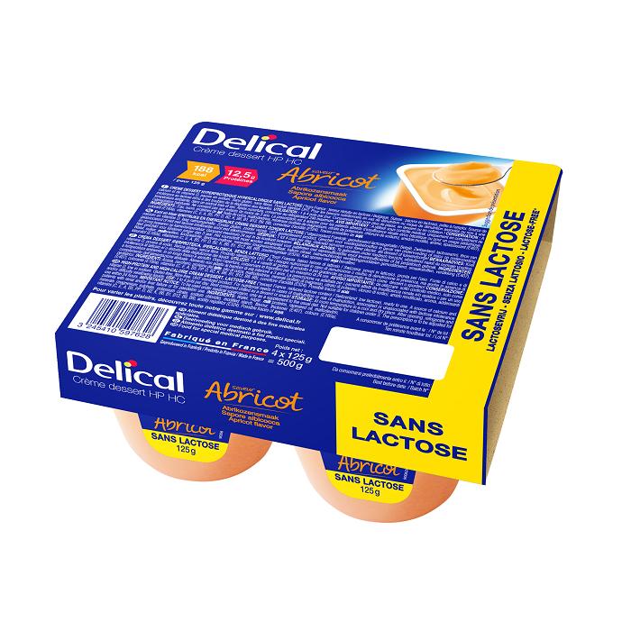 Image of Delical HP-HC Dessertcrème Zonder Lactose Abrikoos 4x125g