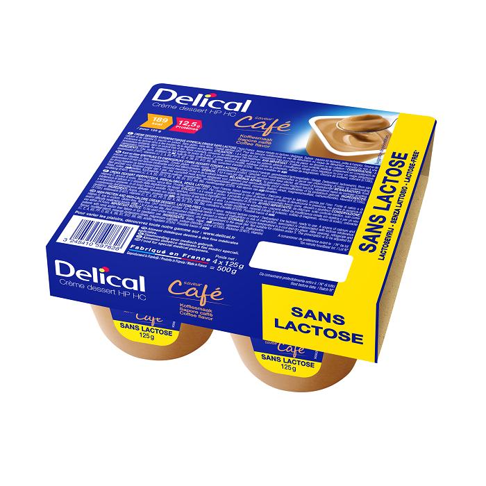 Image of Delical HP-HC Dessertcrème Zonder Lactose Koffie 4x125g