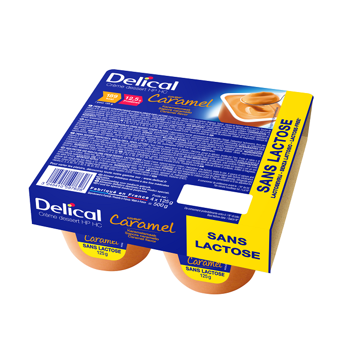 Image of Delical HP-HC Dessertcrème Zonder Lactose Karamel 4x125g