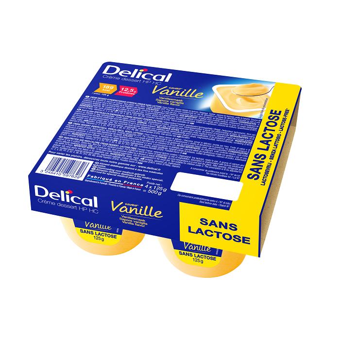 Image of Delical HP-HC Dessertcrème Zonder Lactose Vanille 4x125g