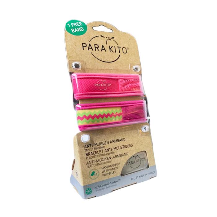 Image of Para'kito Volwassenen Anti-Mug Armband Roze/ Aztec 1+1 GRATIS + 2 Navullingen