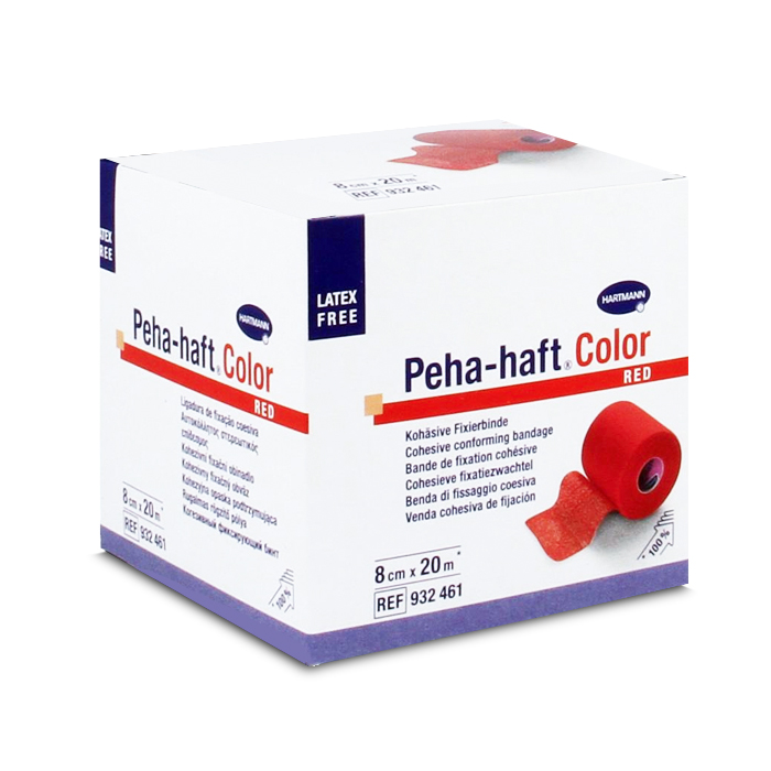 Image of Hartmann Peha Haft Color Latexfree Cohesieve Fixatiezwachtel Rood - 8cmx20m - 1 Stuk