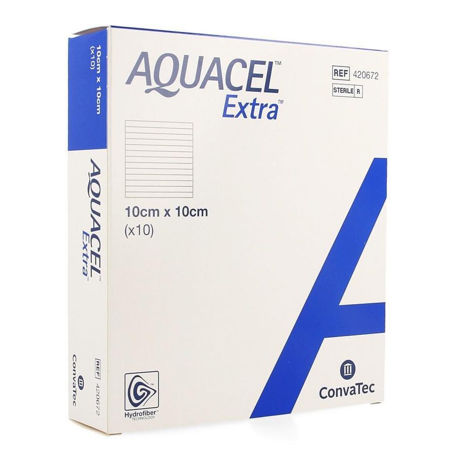 Image of Aquacel Extra Verband Hydrofiber + Versterking 10x10cm 10 Stuks