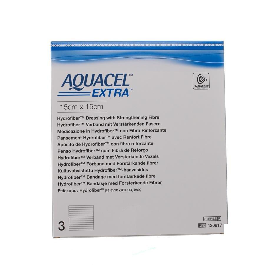 Image of Aquacel Extra Verband Hydrofiber + Versterking 15x15cm 3 Stuks