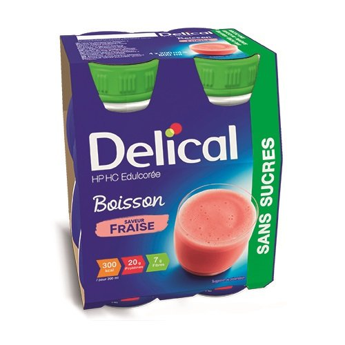Image of Delical Melkdrank HP-HC Aardbei 4x200ml