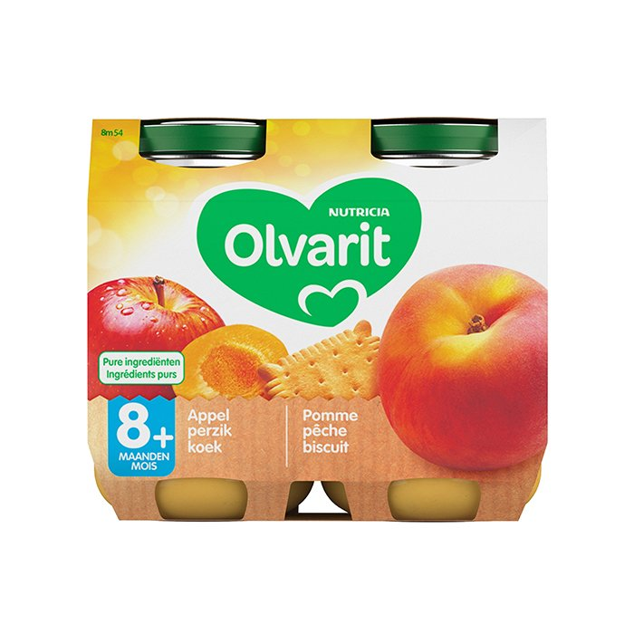 Image of Olvarit Fruitpap Appel/ Perzik/ Koek 8M+ 2x200g