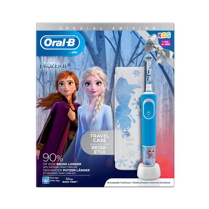 Image of Oral-B D100 Frozen Elektrische Tandenborstel 1 Stuk + GRATIS Travelcase
