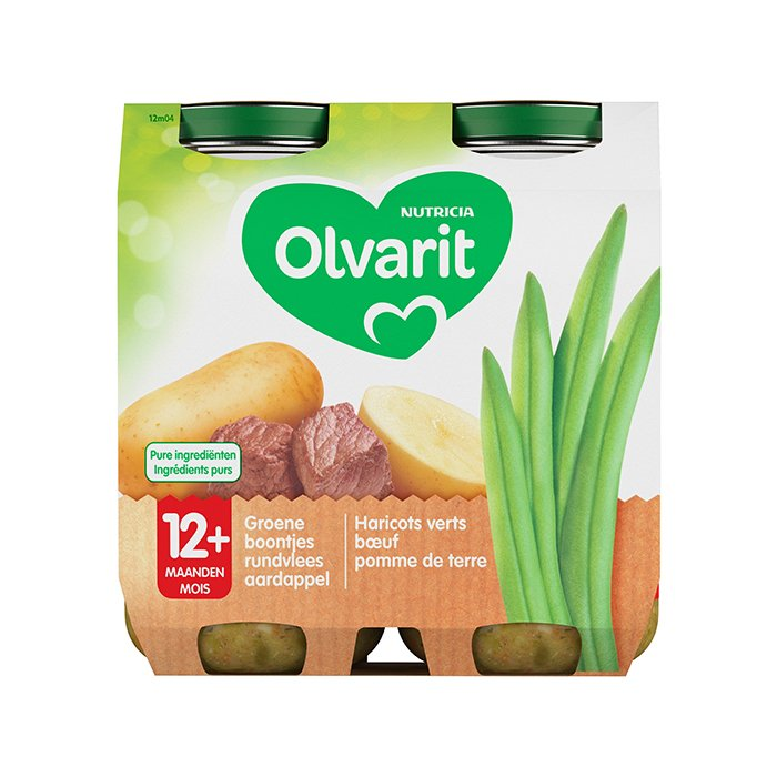 Image of Olvarit Maaltijd Groene Boontjes/ Rundvlees/ Aardappel 12M+ 2x250g