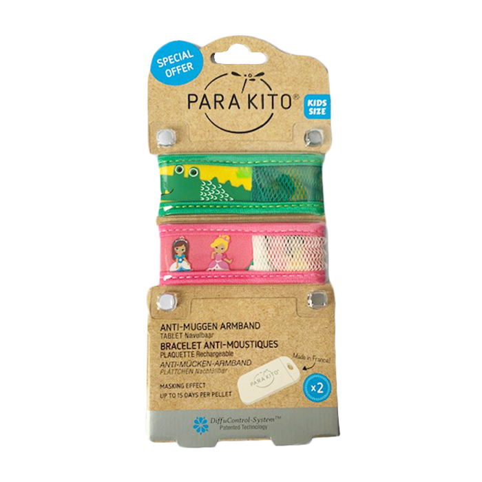 Image of Para'kito Kids/ Teens Anti-Muggen Armband Krokodil/ Prinses 1+1 + 2 Navullingen