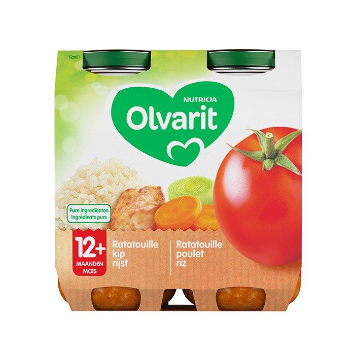 Image of Olvarit Maaltijd Ratatouille/ Kip/ Rijst 12M+ 2x250g