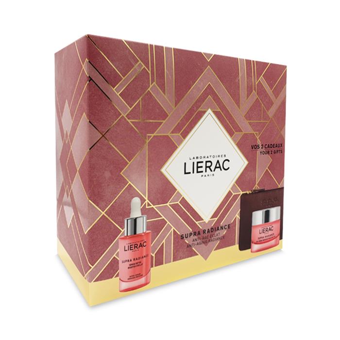 Image of Lierac Geschenkkoffer Supra Radiance Ontgiftend Serum 30ml + GRATIS Anti-Ox Vernieuwende Gel-Crème 40ml & Opbergtasje