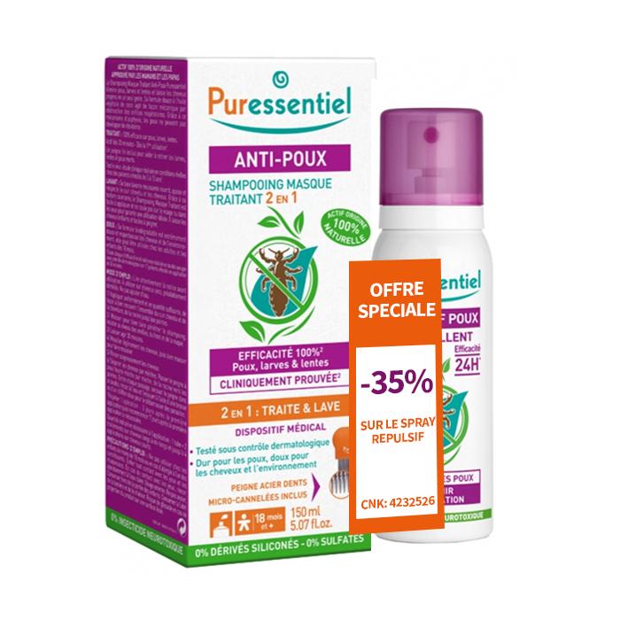 Image of Puressentiel Anti-Luizen Duopack 2in1 Behandelende Shampoo 200ml + Repel Spray 75ml - 35%