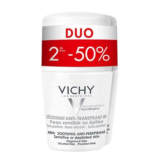 Image of Vichy Deodorant Roller Anti-Transpiratie Gevoelige Huid 48u Promo Duo 2e -50% 2x50ml