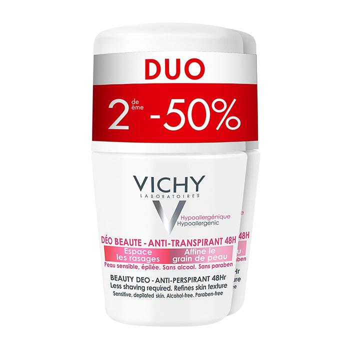 Image of Vichy Deodorant Anti-Transpiratie Beauty Roller 48u Promo Duo 2e -50% 2x50ml