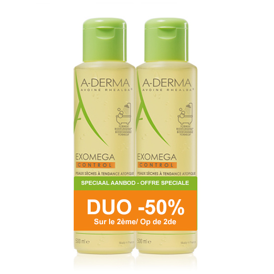 Image of A-Derma Exomega Control Emolliërende Doucheolie 2x500ml Promo 2de -50%
