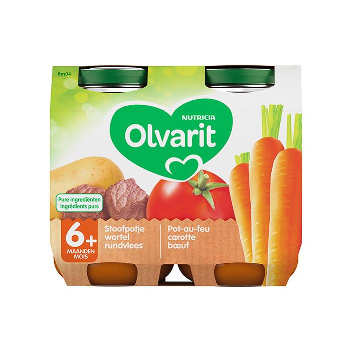 Image of Olvarit Stoofpotje Wortel/ Rundvlees 6M+ 2x200g
